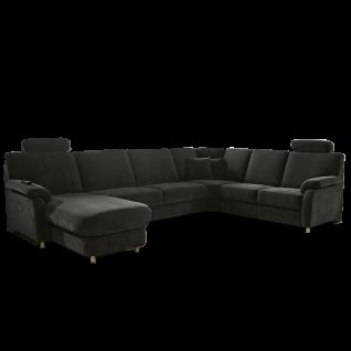 Zehdenick Eckkombination U-Form Toulouse 2-Sitzer, Rundecke, 2, 5-Sitzer ohne Armlehnen und Canape inklusive 2 Kopfstützen Rücken echt Ausführung wählbar