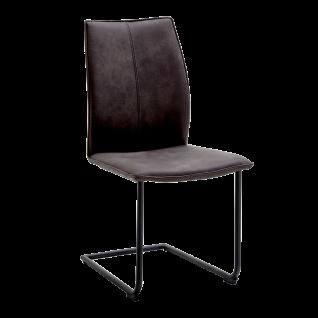 Niehoff Freischwinger Capri 7341 Bezug Aberdeeen anthrazit Gestell aus Eisen schwarz bequemer Schwingstuhl für Esszimmer und Küche