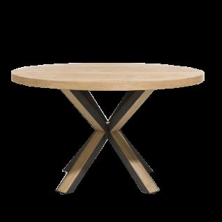 Habufa Ovada-Tisch rund in Eiche railway brown furniert Gestell in Metall schwarz mit Holz-Inlay