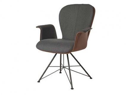 Bert Plantagie Blake Spin Komfort mit Bi-Color-Mattenpolsterung und Armlehnen Stuhl 633C für Esszimmer Esszimmerstuhl Gestellausführung und Bezug in Leder oder Stoff wählbar