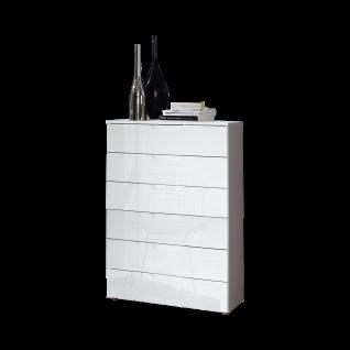 Forte Sienna Kommode SNNK411 mit sechs Schubkästen Korpusfarbe Weiß Front Weiß Hochglanz Dekor Sideboard für Ihr Wohnzimmer oder Esszimmer
