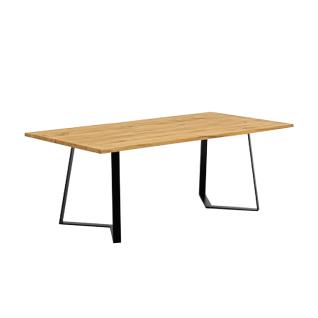 Niehoff Time Design-Tafel 3003 mit Tischplatte in Balkeneiche natur Massivholz gebürstet und Design-Kufengestell in Eisen schwarz Größe wählbar