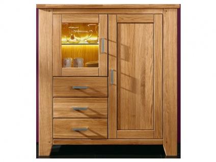 SKALIK Living Loft Highboard in Wildeiche Massivholz geölt und gewachst montiert Art Nr 15519442 mit 1 Glastür 3 Schubkästen und 1 Holztür ideal für Ihr Wohnzimmer
