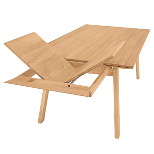 Niehoff Design Esstisch Scandi ausziehbar Massivholz Wildeiche geölt mit modernem Vierfußgestell für Esszimmer und Küche