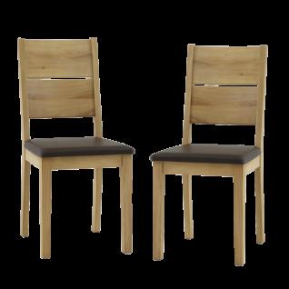 ELFO 2er Set Stuhl Rom-G mit braunem Sitzpolster Kunstleder Kernbuche massiv geölt für Ihr Speisezimmer oder Esszimmer