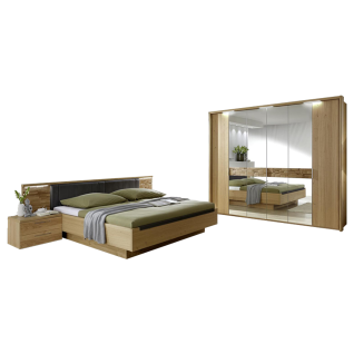 Disselkamp Cesan Schlafzimmer Drehtürenkleiderschrank Doppelbett zwei Nachtkonsolen Korpus Wildeiche Echtholzfurnier Absetzung Spiegel mit Spaltholzeinlage