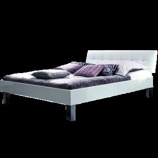 Hasena Top-Line Bett bestehend aus Bettrahmen Advance 18 in Hochglanz weiß Kopfteil Ronna in Kunstleder Kul weiß und Füße Mico aus Metall chrom Liegefläche ca. 180x200 cm optional mit Längstraverse