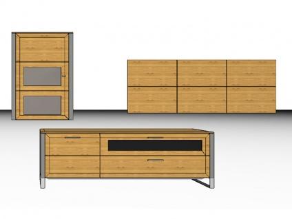 Gwinner Solid Wandkombination Wohnwand SL 09 Hängeschrank Unterteil und Wandpaneel auch spiegelverkehrt lieferbar ohne Beleuchtung ohne Glasregal Front Korpus Ausführung wählbar