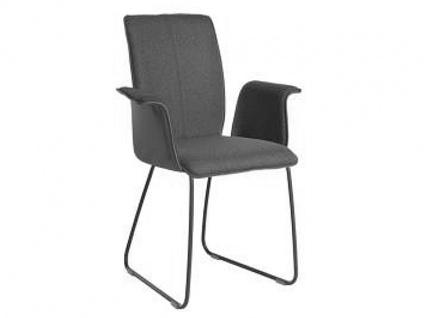 Bert Plantagie Stuhl Tara 831 mit Schlittengestell und Uni-Polsterung Polsterstuhl für Esszimmer Esszimmerstuhl mit geschlossenen gepolsterten Armlehnen und verschiedenen Gestellausführungen Bezug in Leder oder Stoff wählbar