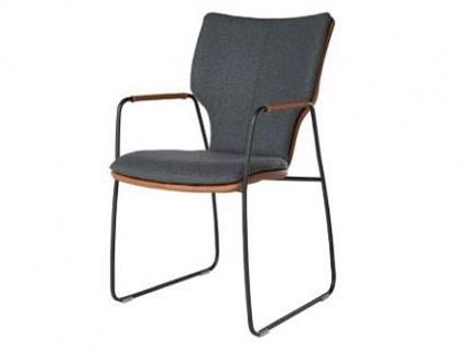 Bert Plantagie Stuhl Joni 721C Komfort Schlittengestell mit Bi-Color-Mattenpolsterung Polsterstuhl für Esszimmer Esszimmerstuhl Gestellausführung und Bezug in Leder oder Stoff wählbar