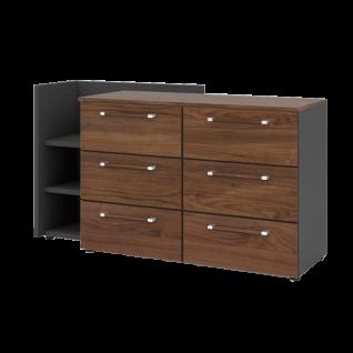 Nolte Möbel Alegro2 Basic Kommode mit 6 Schubkästen und Anstellregal Korpus Graphit Front und Oberplatte Macadamia-Nussbaum-Nachbildung Griffe Bicolor