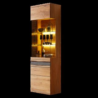 Wohn-Concept Crusty I Vitrine 45 18 HH 01 Standvitrine mit einer Tür mit Linksanschlag Vitrine in Wildeiche teilmassiv mit Absetzung in Steinoptik mit Baumrinde für Ihr Wohnzimmer oder Esszimmer Beleuchtung wählbar