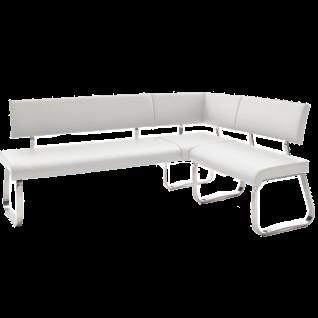 MCA furniture Arco Eckbank AREB10WX Bezug Kunstleder weiß Gestell Flachrohr Edelstahl gebürstet Sitzbank für Ihre Küche oder Ihr Esszimmer