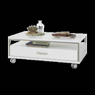 MCA furniture Couchtisch Trento Art. Nr. TRE83T65 Tischplatte weiß Melamin Nachbildung Front weiß hochglanz tiefzieh Nachbildung Korpus weiß Nachbildung mit edelstahlfarbenem Metallrahmen Rollen mit Bremsen Tisch für Ihr Wohnzimmer