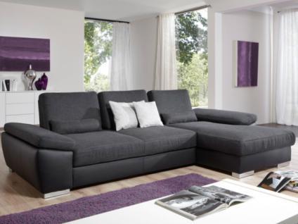 Steinpol Poco Nassau Ecksofa Eckkombination Sofa Couch spiegelverkehrt lieferbar Polstergarnitur inkl. Schwenkrücken Sofa 2sitzig und Longchair in Leder oder Stoff Funktionen wählbar