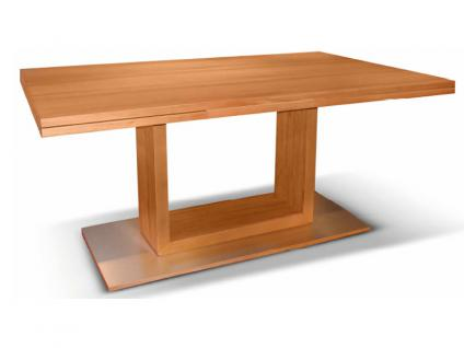 DKK Klose Esstisch Triple Mix Holzarten wählbar Tisch für Esszimmer mit vielen Auszugsfunktionen und U Untergestell mit Bodenplatte in Aluminium oder Edelstahl