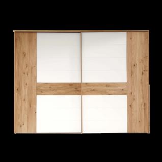 Thielemeyer Loft Schwebetürenschrank 2-türig Ausführung Eiche Massivholz mit Absetzungen in Colorglas weiß Schrankbreite wählbar