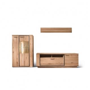 MCA furniture Wohnwand Campinas Art.Nr. CAP17W04 Front Asteiche Bianco Massivholz mit durchgehenden Lamellen Korpus Asteiche Bianco furniert geölt