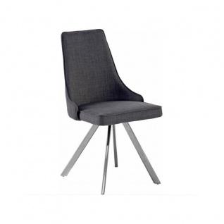 MCA furniture Elara Stuhl EBOE31GX mit 4-Fuß-Gestell Ovalrohr 180° drehbar mit Nivellierung Polsterstuhl Bezug Feingewebe grau für Ihr Esszimmer