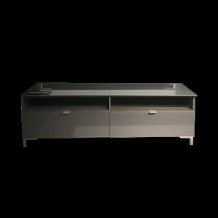 Forte Onrie Lowboard ONRT121 für Ihr Wohnzimmer TV-Unterteil mit zwei Schubkästen und zwei offenen Fächern mit Glasfront und Glasplatte Ausführung wählbar