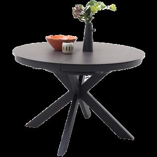 MCA furniture Esstisch Winnipeg Art.Nr. WI12SMAN runde Tischplatte Keramik Anthrazit / Sicherheitsglas Schwarz Gestell Metall Schwarz matt ausziehbar