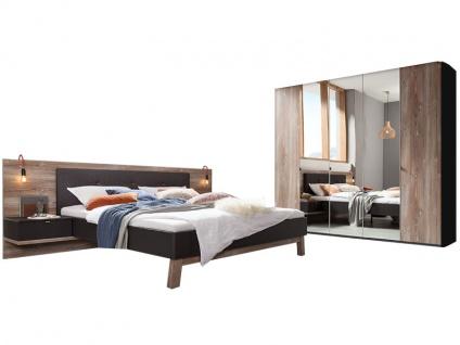 Nolte Möbel Cepina Schlafzimmer-Kombination 2-teilig im alpinen Chic bestehend aus Drehtürenschrank 5-türig mit Grauspiegeltüren mittig und Bettanlage inklusive 2 Nachtschränken, Liegefläche wählbar