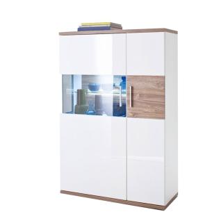 MCA Furniture Luzern LUZ93T21 Highboard R für Ihr Wohnzimmer Hochglanz weiß tiefzieh Nachbildung mit Absetzung Sterling Oak
