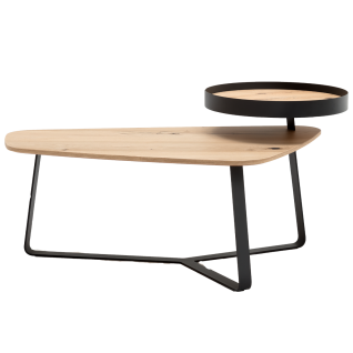 GWINNER Style Couchtisch CT103-108 Tischplatte in Balkeneiche furnier und Gestell in Metall anthrazit pulverbeschichtet