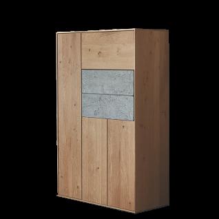 Hartmann Brik Garderobe Stauraumschrank rechts 7142 Ausführung Kerneiche Natur Massivholz gebürstet mit Beton für Ihren Eingangsbereich