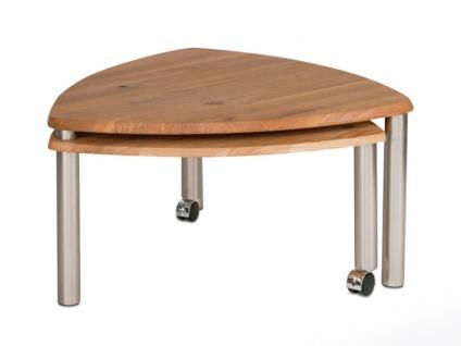 Vierhaus Couchtisch 4317 -WEIX mit zusätzlicher ausdrehbarer Tischplatte aus Massivholz in Wildeiche auf Rollen - Vorschau 4