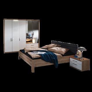 Rauch Steffen / Dialog Nice4Home Schlafzimmer 4-teilige bestehend aus Drehtürenschrank Bett mit Polsterkopfteil in Kunstleder Liegefläche ca. 140 x 200 cm und 2 Nachttischen