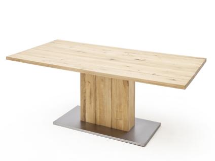 MCA furniture Greta Esstisch mit Säulenfuß fester Tischplatte in Balkeneiche massiv geölt gerader Tischkante in verschiedenene Größen wählbar