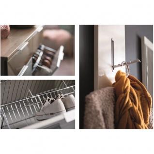 Wittenbreder Stelvio Garderobenkombination Nr. 09 komplette Garderobe für Ihren Flur und Eingangsbereich 3-teilige Vorschlagskombination im Weiß Hochglanz Dekor Weiß Glas und Glas Basalt mattiert - Vorschau 2