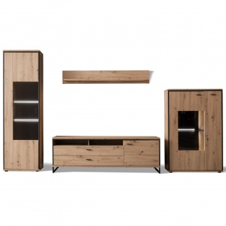 MCA furniture Wohnwand 3 Buenos Aires Art.Nr. BUA1QW03 Front Balkeneiche tiefzieh NB Korpus Balkeneiche Melamin NB Korpusabsetzung Metall anthrazit