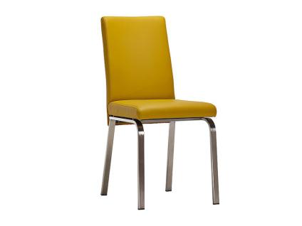 Schösswender Stuhl Modell New York mit gepolstertem Sitz und gepolsterter Lehne Stuhl ohne Armlehnen Polsterstuhl mit Gestell aus Edelstahl gebürstet und mit wählbarem Bezug