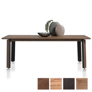 Habufa Moreni Esstisch ausziehbar mit furnierter Tischplatte und Vierfußgestell aus Metall schwarz mit Holzeinlage Holzfarbe und Tischgröße wählbar