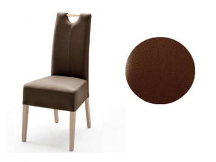 MCA Direkt Stuhl Elida braun Lederlook 2er Set Polsterstuhl für Wohnzimmer und Esszimmer Ausführung 4 Fuß Massivholzgestell und Griff wählbar