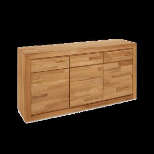 Elfo-Möbel Delft Sideboard 6210 mit 3 Schubkästen 3 Türen in Holz Massivholz Kernbuche für Wohnzimmer oder Schlafzimmer
