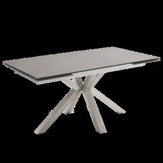 MCA furniture Esstisch Nagano mit Stirnauszug Edelstahlgestell Tischplatte anthrazit aus Keramik/ Sicherheitsglas