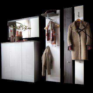 Wittenbreder Stelvio Garderobenkombination Nr. 04 komplette Garderobe für Ihren Flur und Eingangsbereich 4-teilige Vorschlagskombination im Dekor Kastanie Graphit Glas Weiß Hochglanz