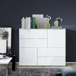 Forte Sienna Kommode SNNK325 mit zwei Türen und vier Schubkästen Korpusfarbe Weiß Front Weiß Hochglanz Dekor Sideboard für Ihr Wohnzimmer Esszimmer - Vorschau 2