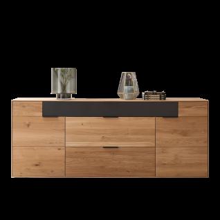 Wöstmann WM2140 Sideboard 2050 in Wildeiche Massivholz und Metall carbonfarbig mit Türen und Schubkästen
