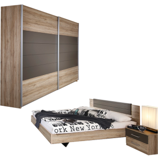 Rauch Packs Barcelona Schlafzimmer-Set 4-teilig bestehend aus  Schwebetürenschrank und Bettanlage mit 2 Nachttischen Ausführung  Dekor-Druck Eiche ...