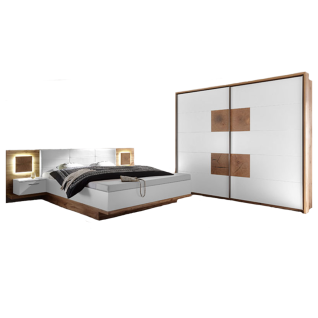 Schlafkontor Rimini Schlafzimmer bestehend aus einem Bett mit Paneel-Nachtkommoden inkl. Beleuchtung einen 2-türigen Schwebetürenschrank optional mit Passepartout wählbar