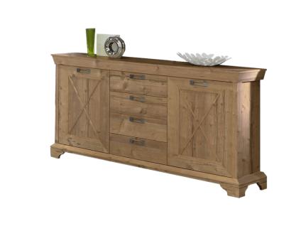 FORTE NEPAL Sideboard EPLK235 Kommode für Ihr Wohnzimmer oder Esszimmer mit 2 Türen und 4 Schubkästen im Dekor Bramberg Fichte