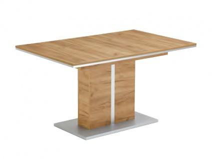 niehoff schiebeplattentisch 5813 55 im dekor struktureiche terra mit saulengestell und platte mit applikation in