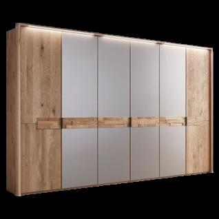 Wöstmann WSM 2800 Drehtürenschrank Massivholz Außentüren mit Spaltholz-Akzent mittig mattierter Parsolspiegel bronze Breite wählbar