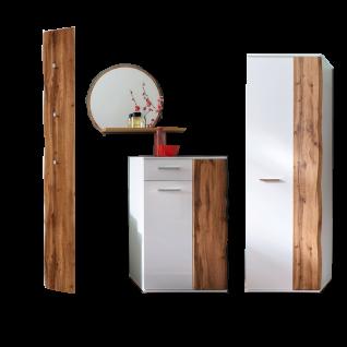 MCA furniture Granada 4-teilige Garderoben-Kombi GRX1FK02 Front Weiß hochglanz Acryl Lack, Korpus weiß matt fur Ihre Diele