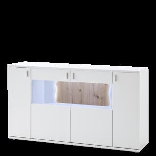 MCA Furniture Sideboard Loreto in weiß mit zwei Türen und zwei Türen mit Glasausschnitt Beleuchtung wählbar ideale Kommode für Ihr Wohnzimmer oder Esszimmer
