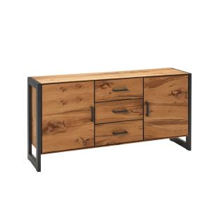 Elfo-Möbel Janne Sideboard 2276 mit zwei Türen und drei Schubkästen Korpus und Front Balkeneiche furniert mit Metallgestell graphitgrau